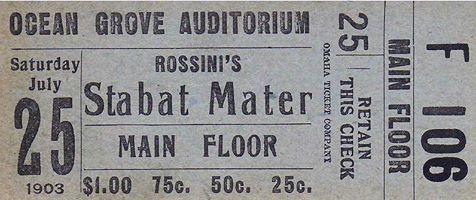 1903 Ticket to Rossini's Stabat Mater